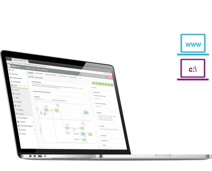 Laptop mit BPM|Free: BPM-Portal Publizieren